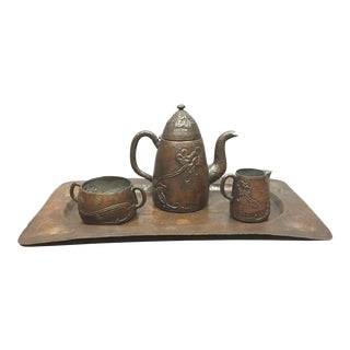 1910 Swedish Arts & Crafts Copper Tea/Coffee Set, Harold Linder For Sale