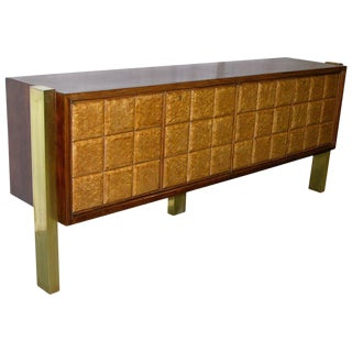 1940s Minimalist Dark & Light Wood Cabinet Sideboard on Brass Legs For Sale