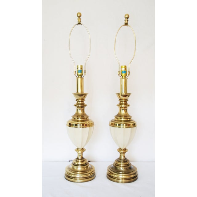 Hollywood Regency Stiffel Brass & Porcelain Lamps & Shades - A Pair For Sale - Image 3 of 8