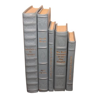 Sky Blue Leather Bound Books- Sets of 5 For Sale