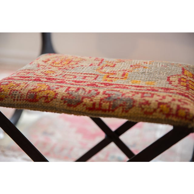 Old New House Rug Fragment Footstool For Sale - Image 4 of 8