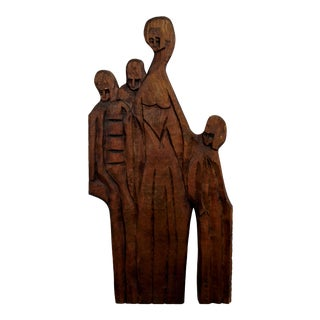 1970s Vintage Jean Claude Gaugy Modernist Wood Wall Art Sculpture For Sale