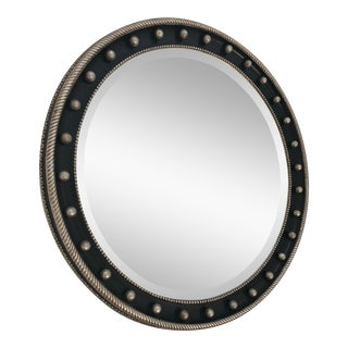 Hollywood Regency Phyllis Morris Round Black Decorative Mirror