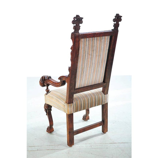 Textile 19th Century Carved Renaissance Arm Chair For Sale - Image 7 of 10