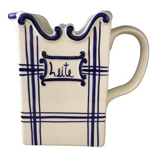 Blue & White Portuguese Ceramic Milk Pitcher For Sale