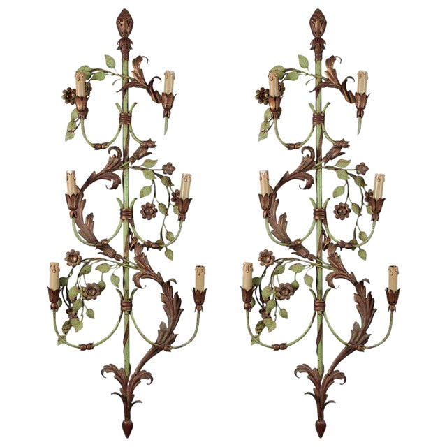 Tall French Six Light Sconces with Green and Gilt Finish- A Pair For Sale