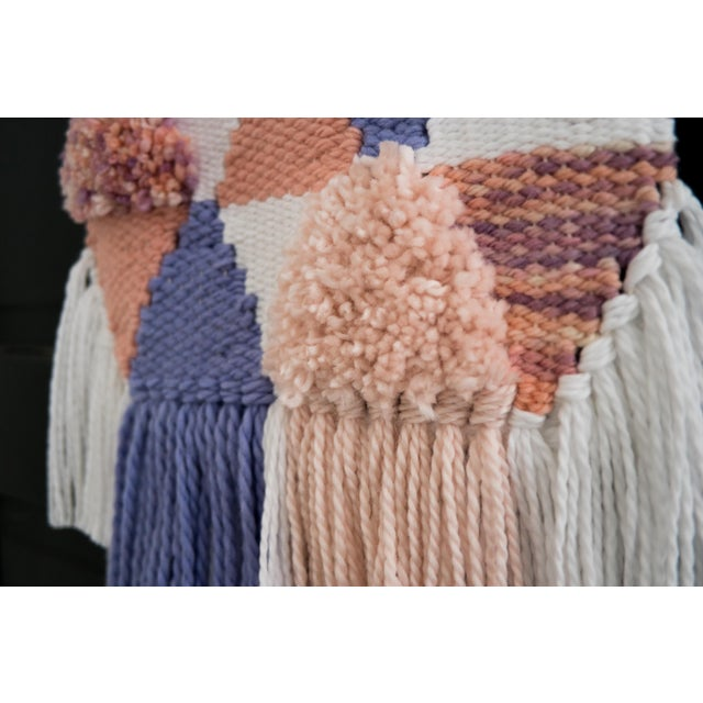 Handwoven Pink & Purple Wall Hanging - Image 5 of 6
