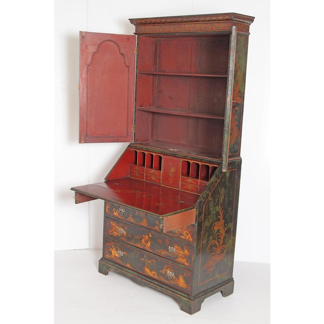 English Chinoiserie Secretary With Mirrored Doors For Sale - Image 4 of 13