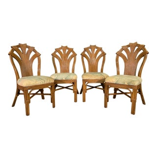 Split Reed Rattan Sculptural Dining Chairs, Set of 4 For Sale