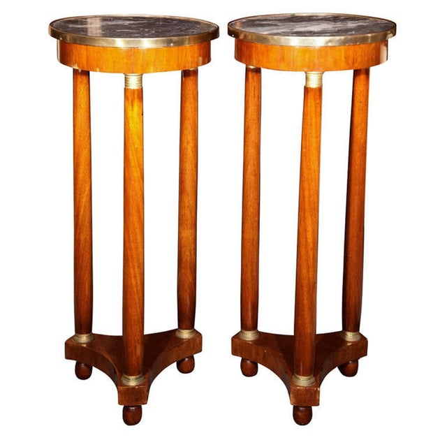 19th Century Marble Top Pedestals - Pair - Image 1 of 8