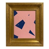 Image of Ron Giusti Mini Abstract Navy Blush Painting, Framed For Sale