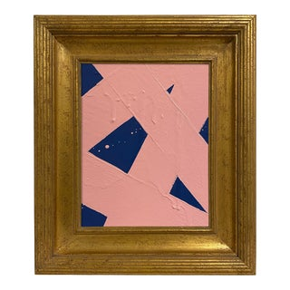 Ron Giusti Mini Abstract Navy Blush Painting, Framed For Sale