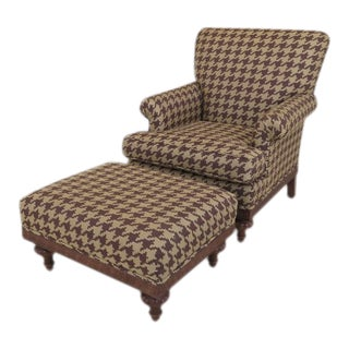 Modern Upholstered Club Chair & Matching Ottoman For Sale