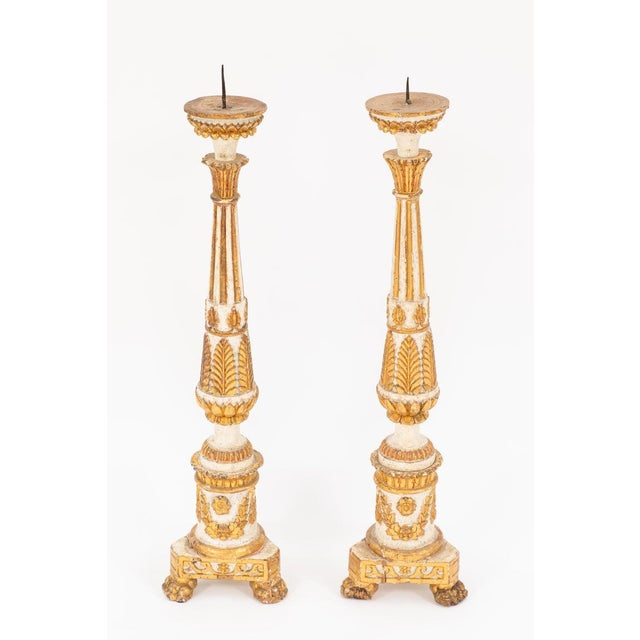 Gold 18th Century Giltwood and Painted Italian Pricket Sticks - Set of 4 For Sale - Image 8 of 11
