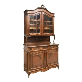 20th Century Antique Louis XV Style Oak Deux Corps China Cabinet For Sale