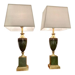 Vintage Solid Cast Brass and Faux Malachite Urn Table Lamps - a Pair For Sale