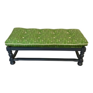 Navy Lacquered Bench W/ Green Cushion For Sale