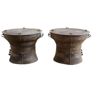 Southeast Asian Bronze Rain Drum Tables For Sale