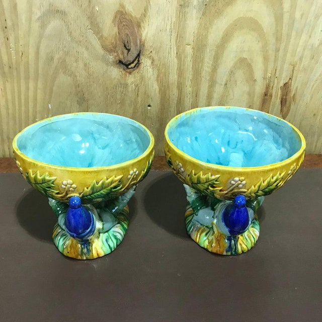 "Boho Chic Majolica George Jones Style ""Punch"" Bowls - A Pair For Sale - Image 3 of 10"