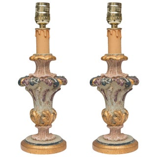 Italian Hand-Painted and Parcel-Gilt Candlesticks as Lamps - a Pair For Sale