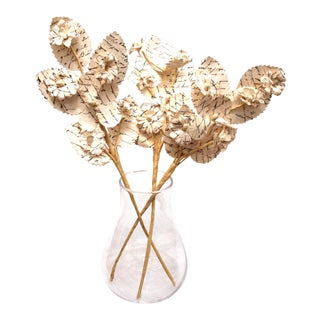 Modernist Paper Flowers in Glass Apothecary Style Vase For Sale