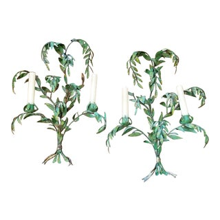 Italian Painted Tole Palm Leaf Sconces - a Pair For Sale