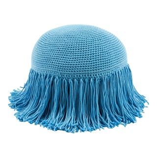 Joni Fringed Pillow in Sky Blue For Sale
