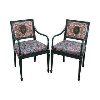Green Neoclassical Style Cane Armchairs - A Pair