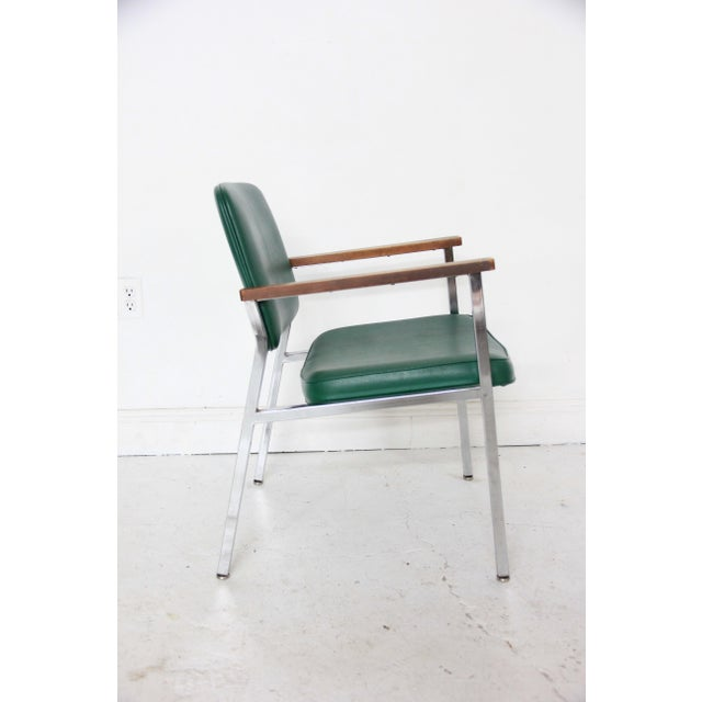 Vintage Mid-Century Industrial Green Vinyl Arm Chair - Image 4 of 6
