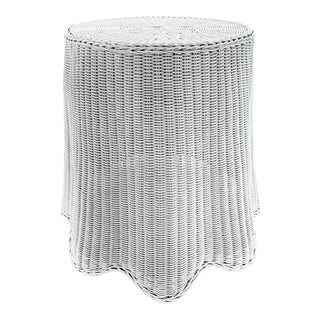 Trompe l'Oeil White Draped Wicker Ghost Pedestal Entryway Side Table For Sale