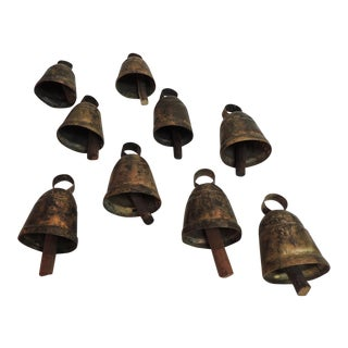 Vintage Metal Indian Cow Bells With Wooden Chimes For Sale