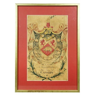 """Framed """"Coat of Arms for Cassidy"""" Watercolor Painting For Sale"""