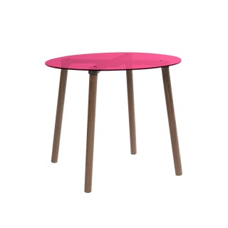 "AC/BC Small Round 23.5"" Kids Table in Walnut With Pink Acrylic Top For Sale"