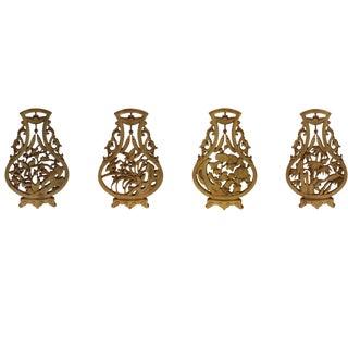 Chinese Set Vase Shape 4 Seasons Flower Wooden Wall Plaque Panels Art For Sale