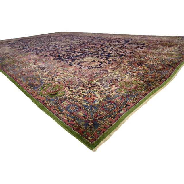 Antique Persian Kirman Palace Size Persian Kerman Rug with Luxe Style, 11'00 x 17'04. This hand-knotted wool antique...