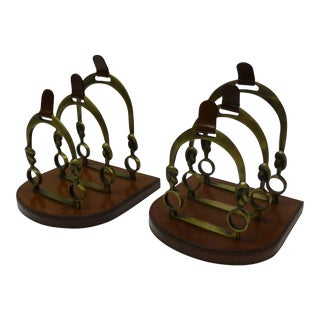 Equestrian Brass Horseshoe & Leather Desk Organizers - A Pair For Sale