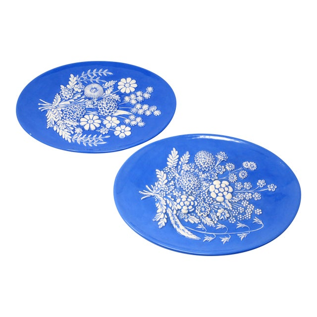Vintage Blue and White Embossed Flowers Plates - Set of 2 For Sale