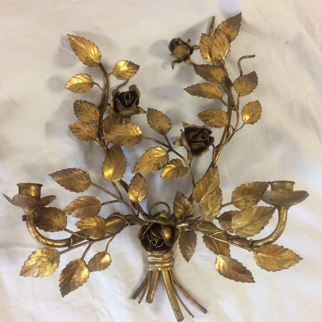 Vintage Gilded Metal Tole Candle Sconces - a Pair For Sale In Sacramento - Image 6 of 11