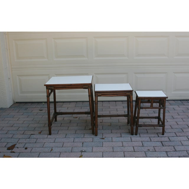 Mid 20th Century Mid Century Modern Rattan Wicker Nesting Tables With White Laminate Top - Set of 3 For Sale - Image 5 of 8