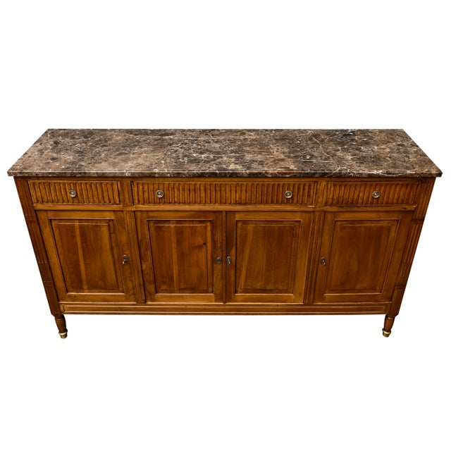 Late 19th Century Antique French Louis XVI Style Walnut Buffet For Sale - Image 5 of 10