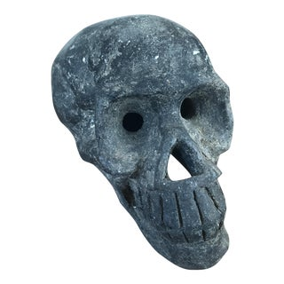 Black Clay Skull Head Sculpture For Sale