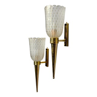 Torchiere Style Murano Glass Sconces With Brass Fittings For Sale
