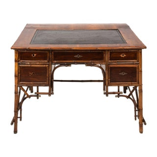 Vintage Leather & Bamboo Writing Desk For Sale