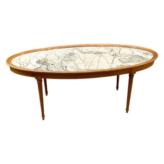 Vintage Blonde Wood Ovular Coffee Table With Map of Belgium Top Detail For Sale