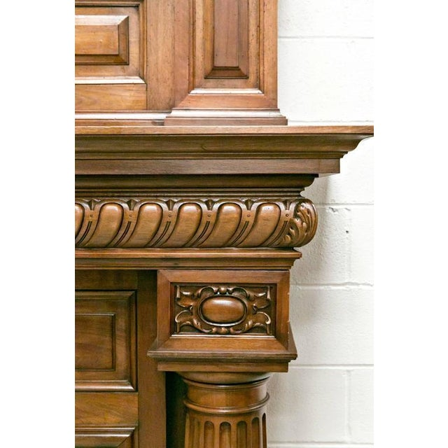 Monumental French Renaissance Revival Walnut Fireplace with Trumeau Overmantel For Sale In Birmingham - Image 6 of 11