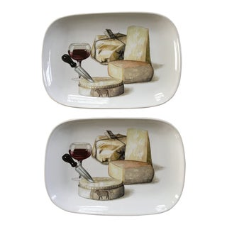 Italian Ceramic Cheese Trays - a Pair For Sale