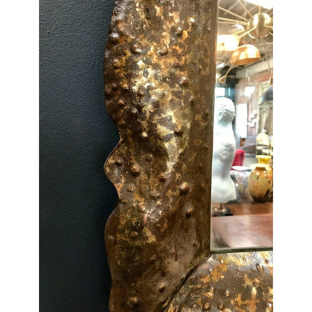Stunning Vintage Hammered Mirror by Bragalin in Sculpted Bronze For Sale - Image 4 of 10