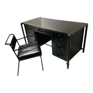 1940s Jacques Adnet Stitched Leather Executive Desk and Chair - 2 Pieces For Sale