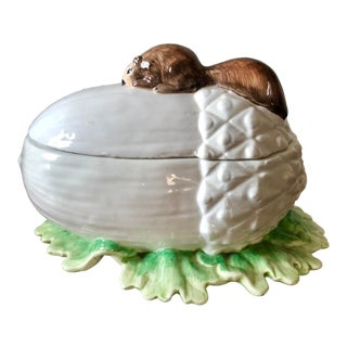 Vintage Meiselman Imports Italian Pottery Squirrel Nut Dish For Sale