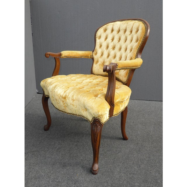 Vintage French Provincial Tufted Gold Velvet Accent Chair